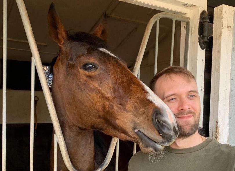 Christmas Raffle winner Tony with his horse Jen's Gift