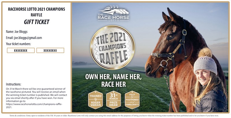 Racehorse Lotto Champions Raffle example gift ticket