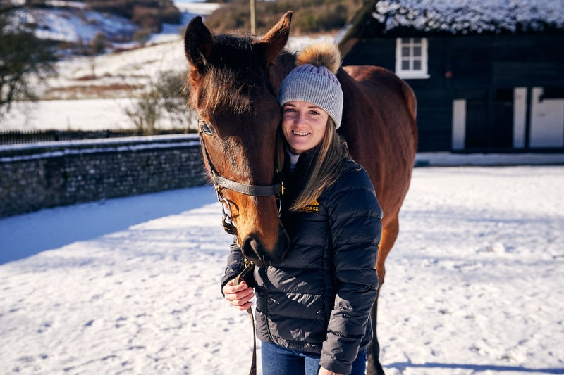 Racehorse Lotto Champions Raffle filly with Hollie Doyle